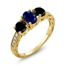 2.24 Ct Oval Blue Sapphire Black Diamond 18K Yellow Gold Plated Silver Ring