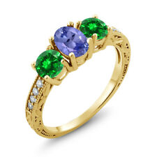 2.55 Ct Blue Tanzanite Simulated Emerald 18K Yellow Gold Plated Silver Ring