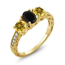1.82 Ct Oval Black Onyx Yellow Citrine 18K Yellow Gold Plated Silver Ring