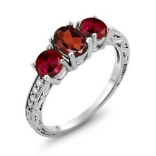 2.22 Ct Oval Red Garnet Red Created Ruby 18K White Gold Ring