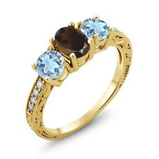 1.87 Ct Brown Smoky Quartz Sky Blue Topaz 18K Yellow Gold Plated Silver Ring