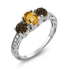 1.64 Ct Oval Yellow Citrine Brown Smoky Quartz 14K White Gold Ring