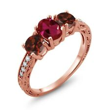 2.12 Ct Oval Red Created Ruby Red Garnet 18K Rose Gold Plated Silver Ring