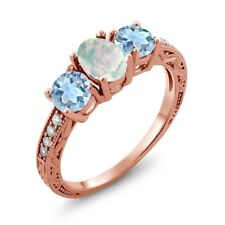 1.55 Ct Oval Cabochon White Opal Sky Blue Aquamarine 14K Rose Gold Ring