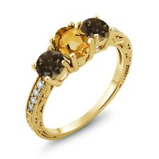 1.64 Ct Yellow Citrine Brown Smoky Quartz 18K Yellow Gold Plated Silver Ring