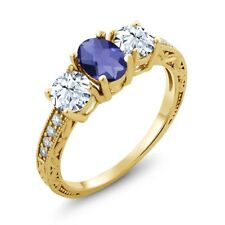 2.27 Ct Oval Checkerboard Blue Iolite 14K Yellow Gold Ring