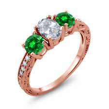 2.75 Ct White Topaz Green Simulated Emerald 18K Rose Gold Plated Silver Ring