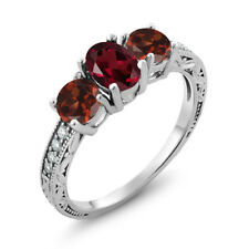 2.12 Ct Oval Red Rhodolite Garnet Red Garnet 14K White Gold Ring