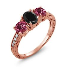2.19 Ct Oval Black Sapphire Pink Tourmaline 18K Rose Gold Plated Silver Ring