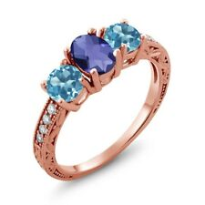1.77 Ct Oval Checkerboard Blue Iolite Swiss Blue Topaz 14K Rose Gold Ring