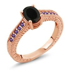 1.08 Ct Oval Black Onyx Purple Amethyst 18K Rose Gold Plated Silver Ring