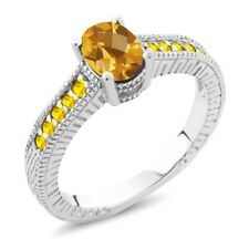 1.20 Ct Oval Checkerboard Yellow Citrine Sapphire 14K White Gold Engagement Ring
