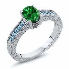 1.74 Ct Simulated Emerald Swiss Blue Simulated Topaz 925 Sterling Silver Ring