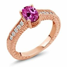 1.22 Ct Pink Created Sapphire White Sapphire 18K Rose Gold Plated Silver Ring