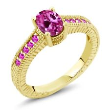 1.50 Ct Oval Pink Created Sapphire Sapphire 18K Yellow Gold Plated Silver Ring