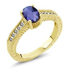 0.98 Ct Oval Checkerboard Blue Iolite White Diamond 18K Yellow Gold Ring