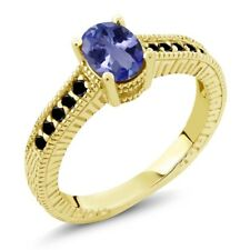 1.08 Ct Oval Blue Tanzanite Black Diamond 18K Yellow Gold Plated Silver Ring