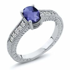 0.87 Ct Oval Checkerboard Blue Iolite White Sapphire 18K White Gold Ring
