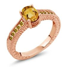 0.95ct Citrine and Simulated Citrine 18K Rose Gold Plated Silver Engagement Ring