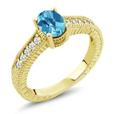 1.35 Ct Oval Checkerboard Swiss Blue and White Topaz 18K Yellow Gold Ring
