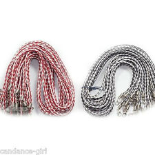 Wholesale 20/100Pcs Handmade Braided Leather Lobster Clasp Necklace Cord 19""