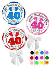 40TH BIRTHDAY PARTY FAVORS STICKERS  for lollipops  goody bags, favor boxes