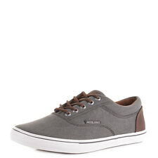 MENS JACK AND JONES VISION CANVAS SNEAKER PEWTER PLIMSOLE TRAINERS SHOES SIZE
