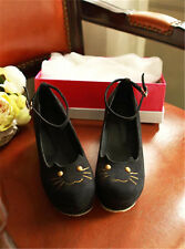 New Lady's Cat Head Platform Shoes Wedge Flatform Punk Creepers Thick Shoes ZD29