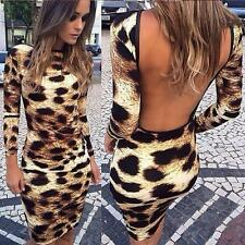 Sexy Women Backless Leopard Print Long Sleeve Dress Bodycon Cocktail Mini Dress