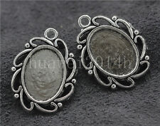 5/20/100pcs Tibetan Silver Cameo Cabochon Base Setting Charms Pendant 28x22mm