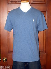 Polo Ralph Lauren Delta Blue V-Neck T-Shirt White Polo Pony  M L XL XXL NWT