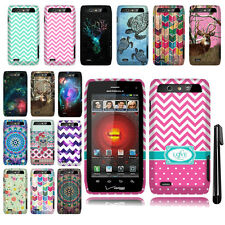 For Motorola Droid 4 XT894 PATTERN HARD Protector Case Phone Cover + Pen