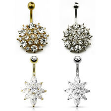 Surgical Steel Gold Plated Belly Button Bars with Clear CZ Gem Flowers