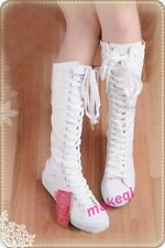 Womens Canvas Lace Up Knee High Boots Sneakers Flat Casual Punk Casual Shoes