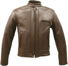 MADE IN USA BROWN THICK LEATHER RACER MOTORCYCLE BIKER JACKET PISTOL POCKETS