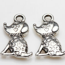10/20Pcs Tibetan Silver Delicate Lovely Sitting Dogs Charm Pendants 18*10mm
