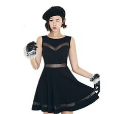Women Sexy Chiffon Sheer Mesh Party Evening Cocktail Pleated Skater Short Dress