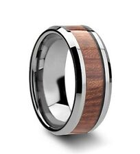 8mm Tungsten Ring High Polished Edge Wood Inlay Mens & Womens Wedding Band