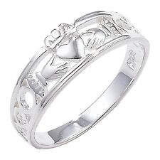 Solid Silver Irish Celtic Claddagh Edged Band Ring J - R Celtic Jewellery Boxed