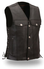 Mens Leather Buffalo Nickel Snap Biker Vest