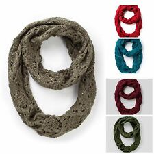 NEW Faded Glory Women's Accessory Infinity Sequin Accent Crochet Knit Scarf
