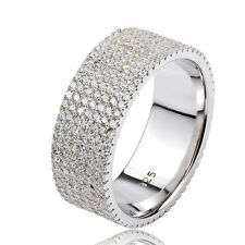 Wide 7 Row Full AAA Zirconia CZ Band Ring Wedding Promise 925 Sterling Silver