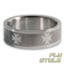 BAND RING IRON CROSS stainless steel templar knights cross men´s jewelry silver