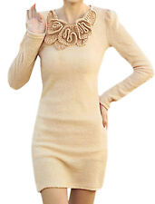 Women Long Sleeves Round Neck Tunic Knit Shirt w Corsage