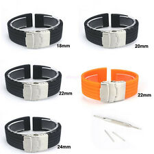 Silicone Rubber Watch Strap Band Waterproof with Deployment Clasp 18 20 22 24mm