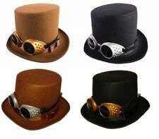 Steampunk Top Hat with Removable Goggles - Brown or Black Costume Accessory fnt