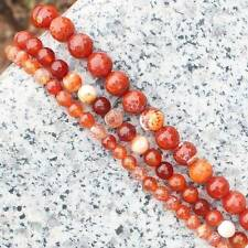 """Faceted Red Fire Agate 6-14mm Round Loose Beads 15"""""""