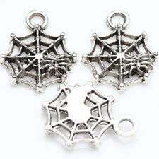 15/30Pcs Tibetan Silver Hollow Spider Web Charms Pendants Necklaces Gift 17x14mm