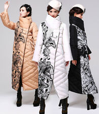Womens Winter Warm White Duck Down Super Long Jacket Printing Fashion Coat Parka