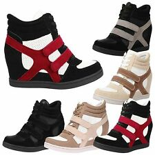 WOMENS SHOES LADIES WEDGES TRAINERS LACE UP VELCRO HIGH TOP BOOTS MID HEEL STYLE
